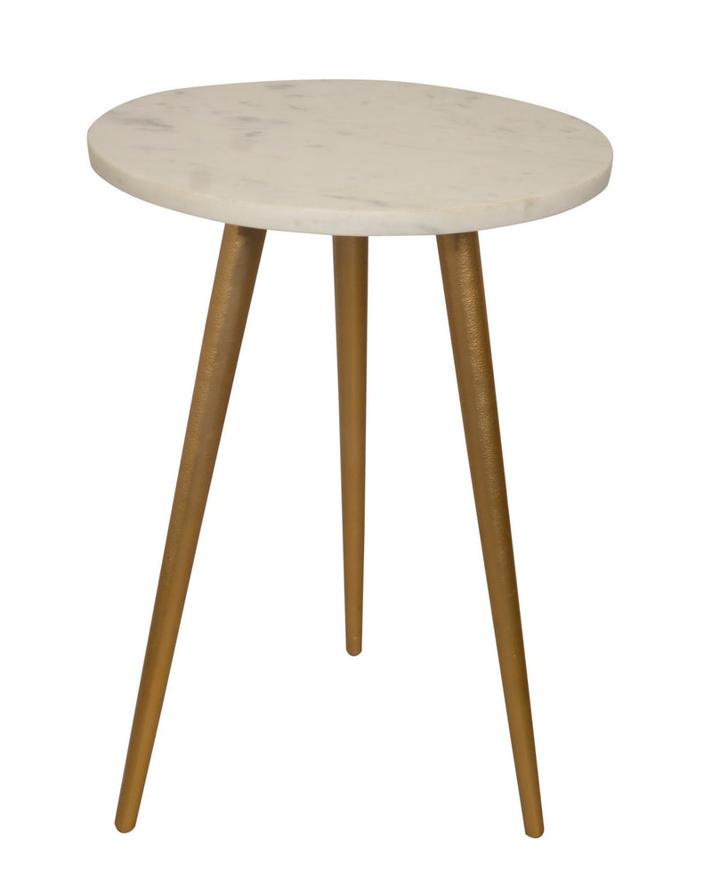 Maxine Tripods White Marble Top Side Table