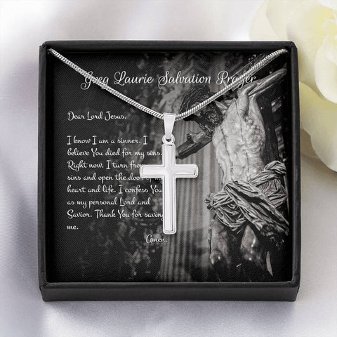 14K White Gold Faith Cross Necklace With Greg Laurie Salvation Prayer