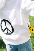 Happy. with Peace Sign White Hooded Sweatshirt