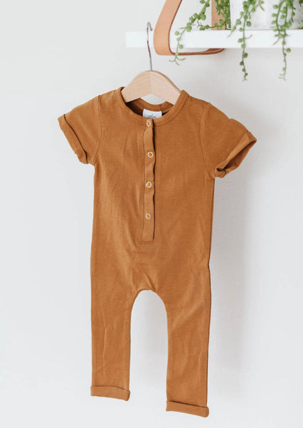 Butterscotch Short Sleeve Henley Romper