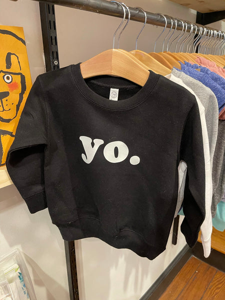 Yo. Black Crewneck Toddler Pullover