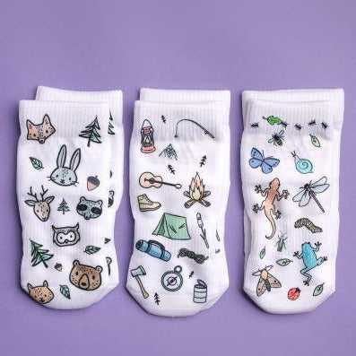 Squid Socks Camping Collection- socks that STAY ON!