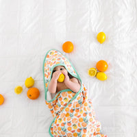 Copper Pearl Citrus Knit Hooded Towel
