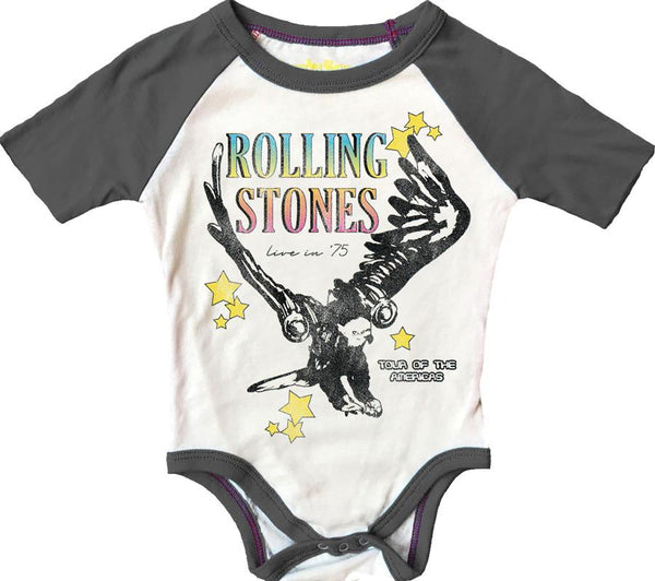 Rowdy Sprout Rolling Stones Short Sleeve Raglan Bodysuit