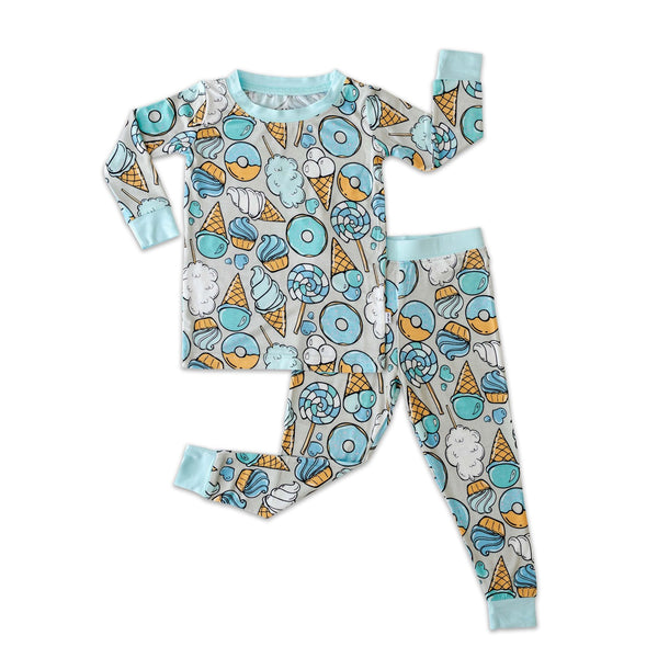 Little Sleepies Grey & Blue Sweet Treats Toddler PJ Set