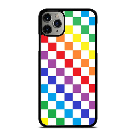 CHECKERED RAINBOW-iphone-11-pro-max-case-cover