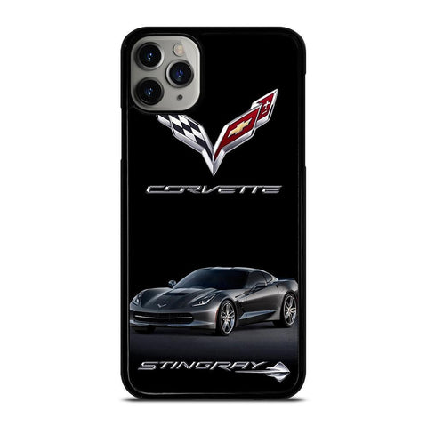 CORVETTE STINGRAY C7 BLACK CAR-iphone-11-pro-max-case-cover