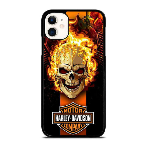 HARLEY DAVIDSON SKULL FIRE-iphone-11-case-cover