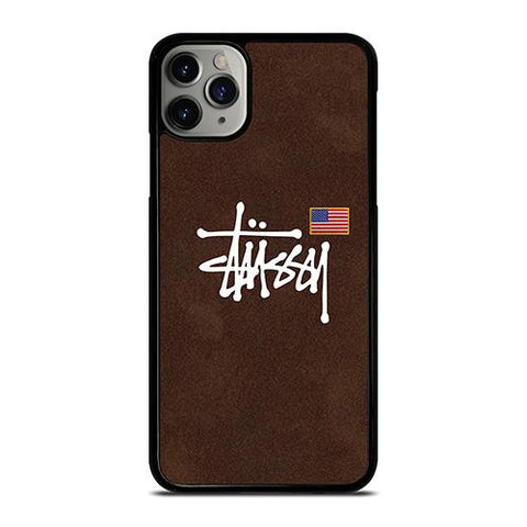 STUSSY X AMERICAN FLAG BROWN SUEDE iPhone 11 Pro Max Case Cover