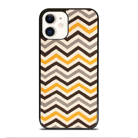 YELLOW BROWN CHEVRON PATTERN iPhone 12 Case Cover
