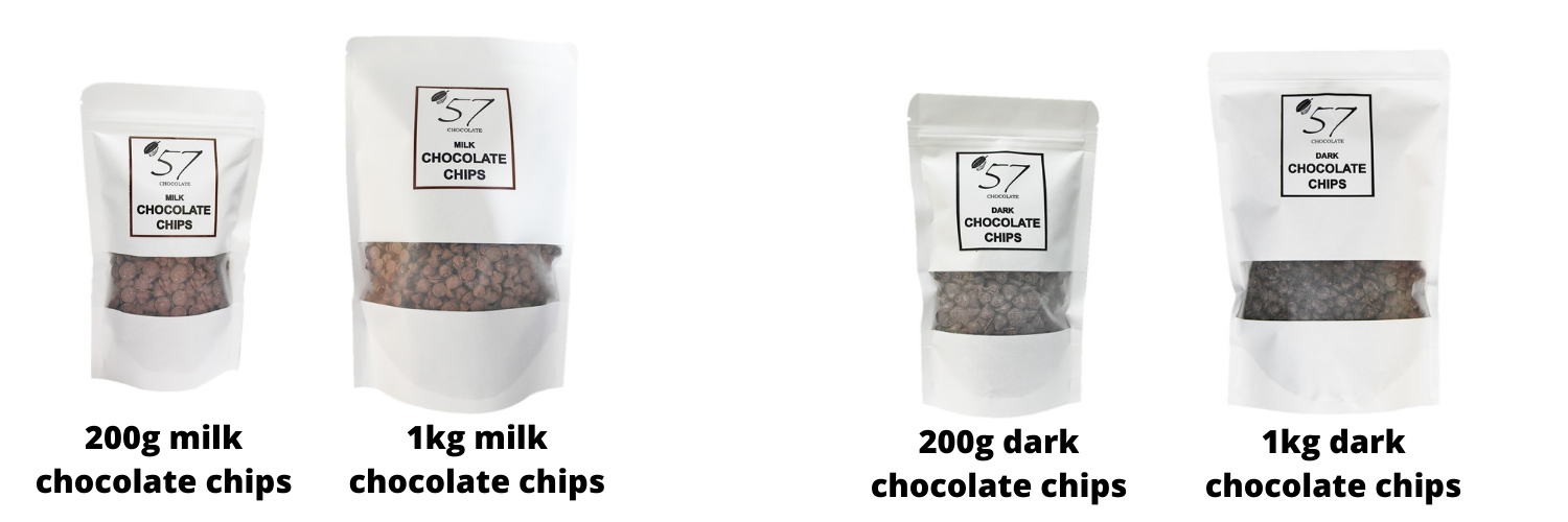 Milk and dark chocolate chip selection