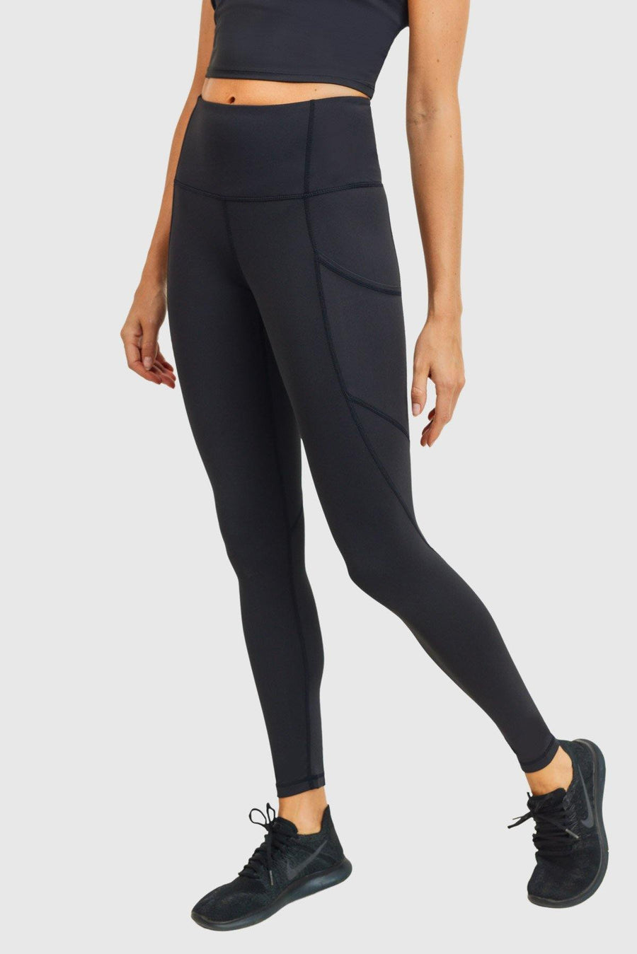 Solid & Slanted Panels Highwaist Leggings-Leggings-Mono B Athleisure-S-Black-Mono B Athleisure