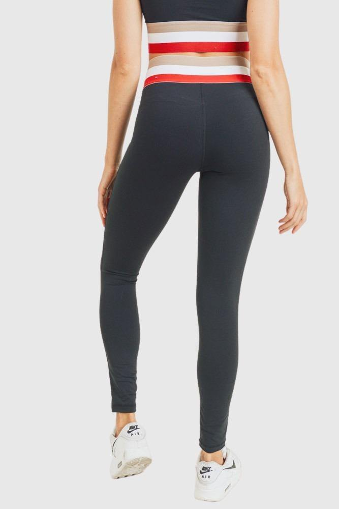 Cherry Irish Coffee Tricolor Band Highwaist Leggings - Mono B Athleisure