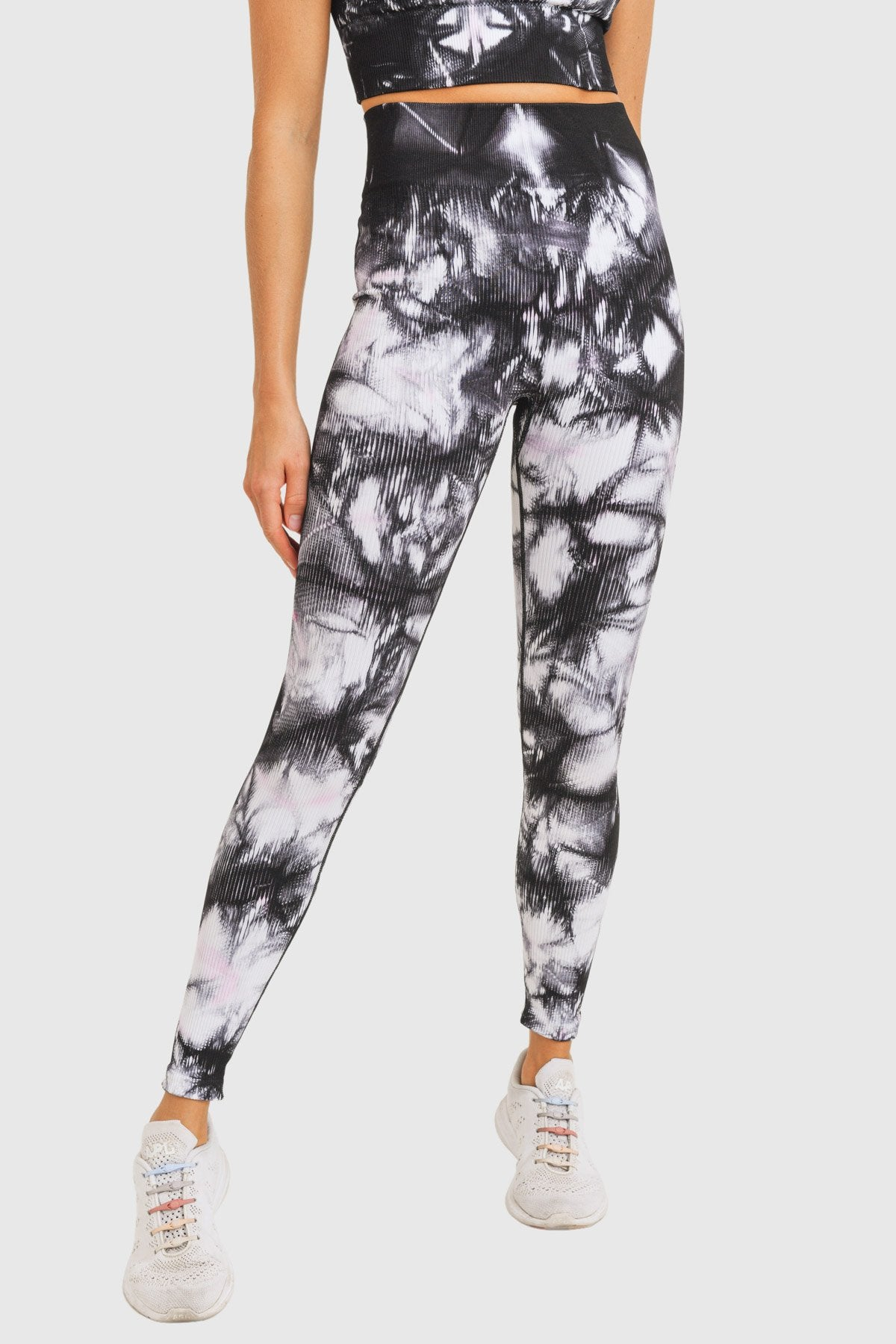 Smokescreen Tie-Dye Ribbed Seamless Highwaist Leggings