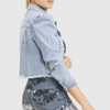Puffed Sleeves Cropped Distressed Denim Jacket - Mono B Athleisure