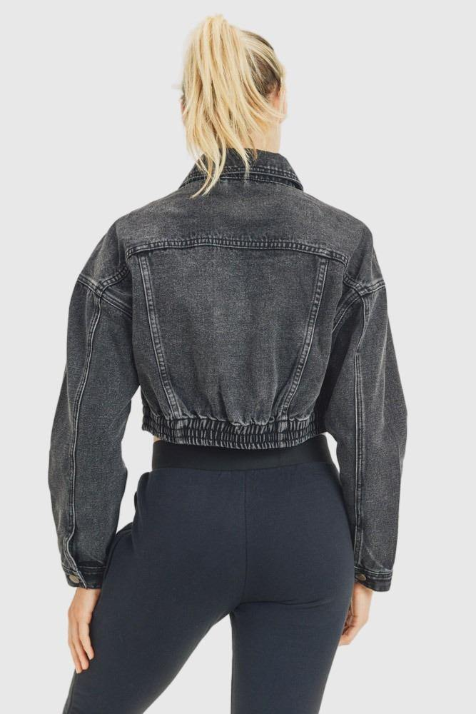 Cropped Denim Jacket with Ribbed Hem - Mono B Athleisure