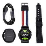 Contents within the GOLFBUDDY aim W11 including straps, cable, charger, and watch