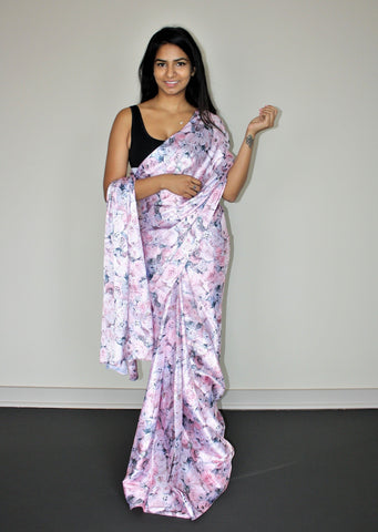 Pre-stitched Japan Crepe Rose Saree and Blouse (Set)