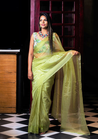 Pre-stitched Glass Tissue Saree and Blouse (Set)