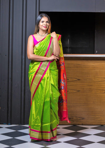 Pre-stitched Paithani Silk Saree and Blouse (Set)
