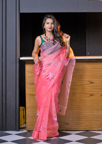 Pre-stitched Hand Painted Organza Floral Saree