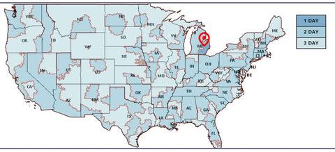 USPS Priority Shipping Map