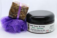 'Eczema Relief' Gift Set - Premium Whipped Shea Butter, Raw African Black Soap, Loofa