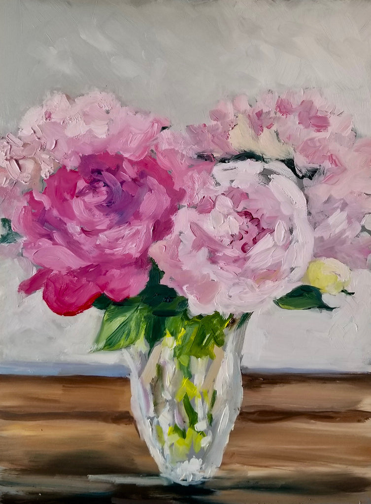 Peonies In A Vase-Oil on Board-9 x 12
