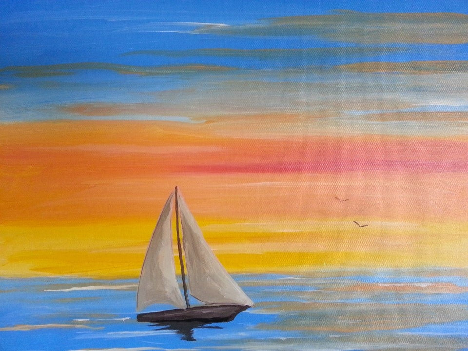 "Sept 11, Thurs, 7-9pm, ""Sailboat Sunset"" Public Class"
