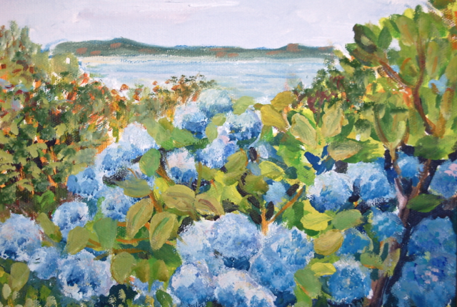 Notecards-Blue Hydrangeas, Newport- 100# card stock