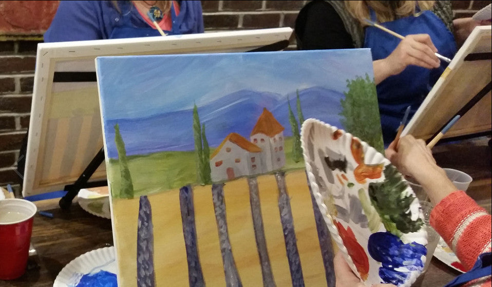 Wine, painting, and canvas for Manchester, Vermont, VT