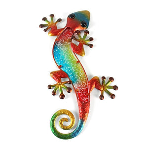 Metal Gecko Wall Decor with Glass