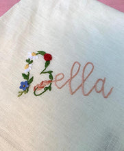 Load image into Gallery viewer, Hand embroidered linen Napkin with Bello & Bella - 1 piece with a minimum order of 6 - Pre order now