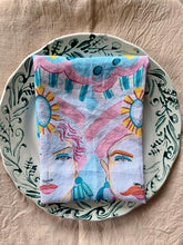 Load image into Gallery viewer, Hand drawn Caltagirone linen napkins - 1 item with a minimum order of 6 pieces -  Ready to Ship