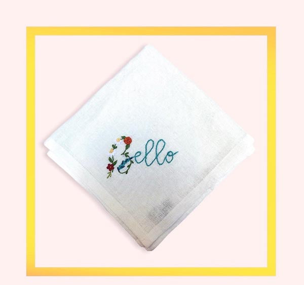 Hand embroidered linen Napkin with Bello & Bella - 1 piece with a minimum order of 6 - Pre order now