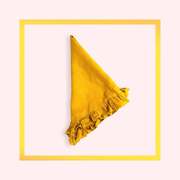Pure linen handcrafted napkins with ruffle - Mustard - 1 piece with a minimum order of 100 - Pre order now