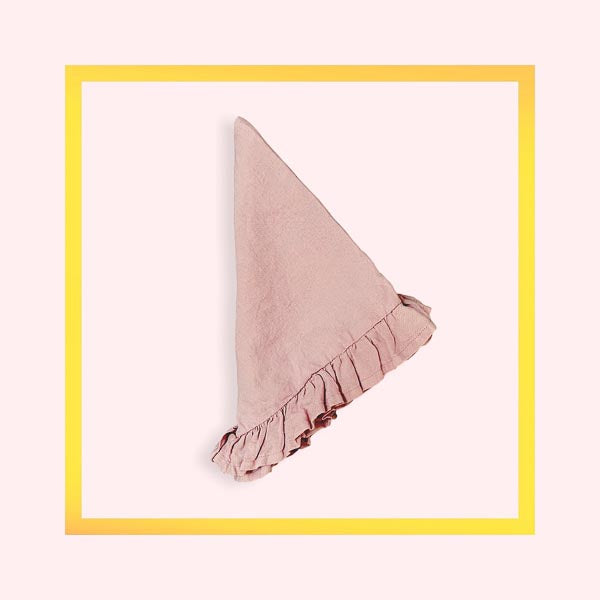 Pure linen handcrafted napkins with ruffle - Pink Blossom - 1 piece with a minimum order of 100 - Pre order now