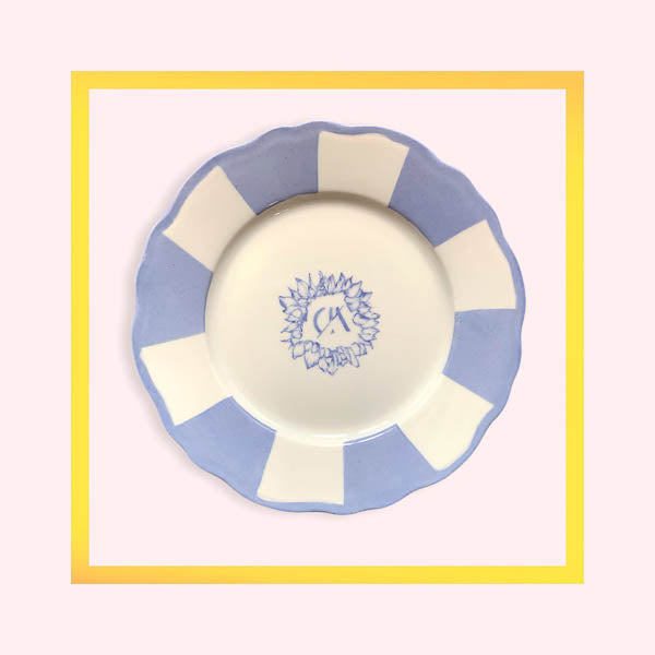 Custom monogram large dinner plate hand-painted by Tamadaba Estudio for Design Anarchy - 1 piece for a minimum order of 20 pieces - Pre order now
