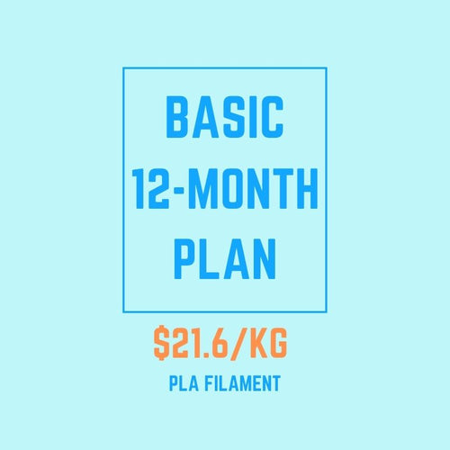 Basic 12 Month Prepaid 24kg 1.75mm PLA Filament Subscription (Continental United States Only)