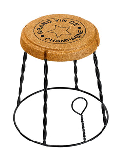 Giant Champagne Cork Wire Cage 'Muselet' Stool/Side Table Black
