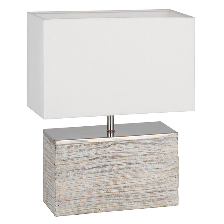 Hampton White Wash Wood Table Lamp