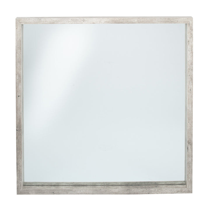 Concrete Effect Wood Veneer Square Mirror Large