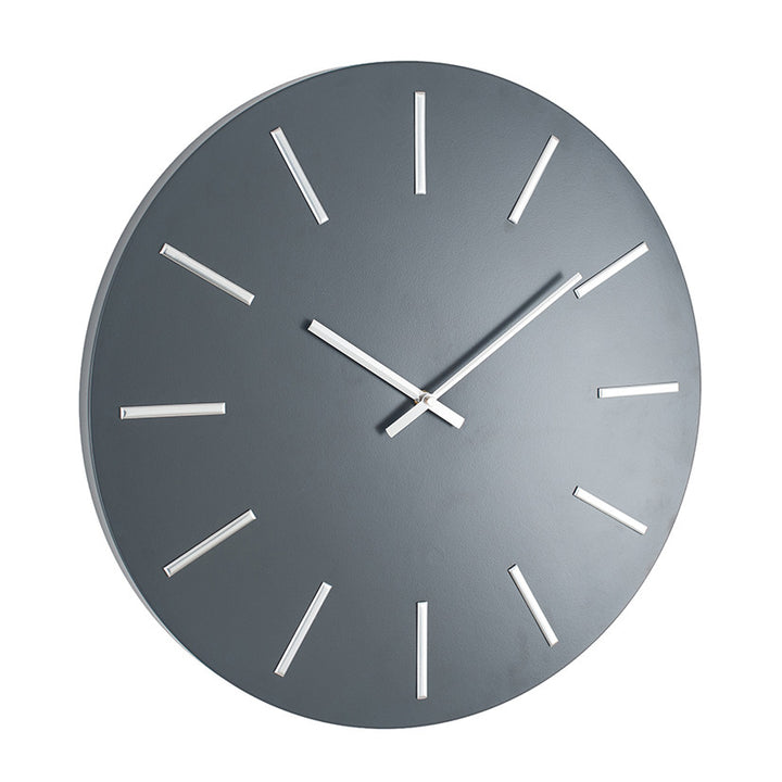 Matt Grey and Silver Detail Round Metal Wall Clock