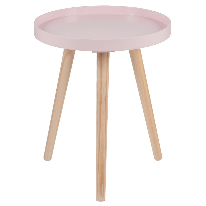 Pink MDF & Natural Pine Wood Round Table