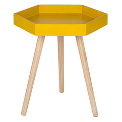 Mustard MDF & Natural Pine Wood Hexagon Table