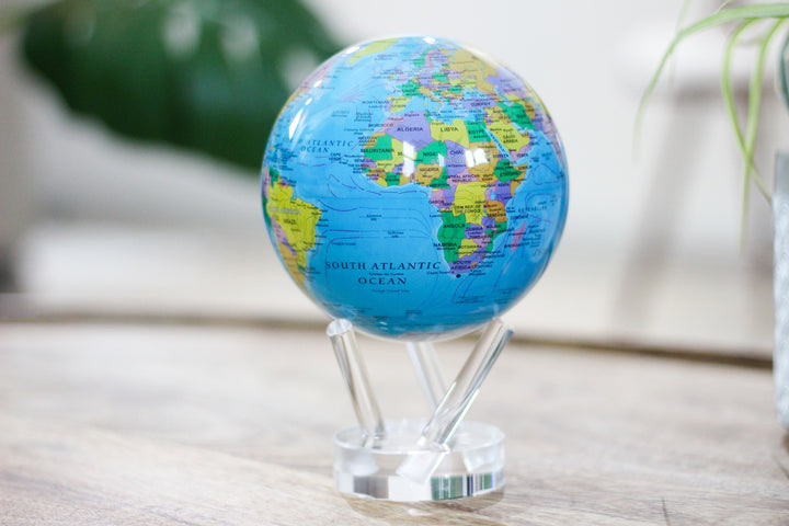 Self Rotating Relief Map Blue MOVA Globe