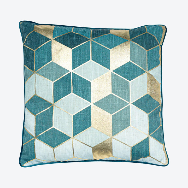 Teal Gold Cubes Geometric Cushion