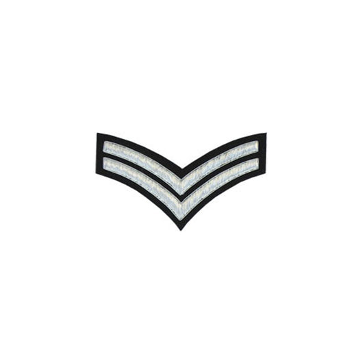2 Stripe Chevrons Badge Silver Bullion On Black
