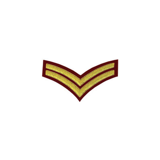 2 Stripe Chevrons Badge Gold Bullion On Red
