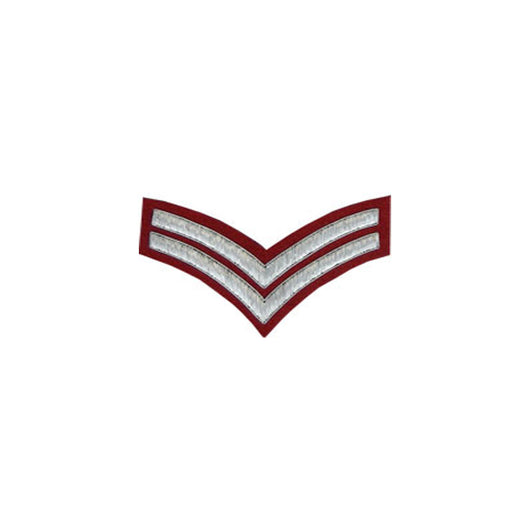 2 Stripe Chevrons Badge Silver Bullion On Red